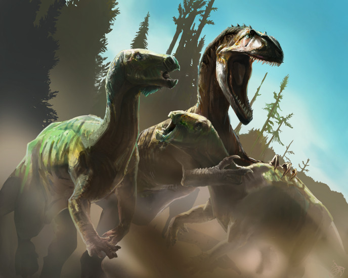 Камптозавр и аллозавр