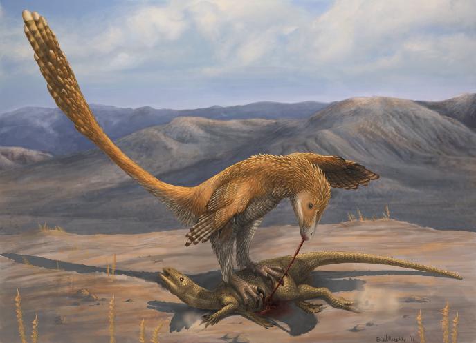 Дейноних поймал зефирозавра