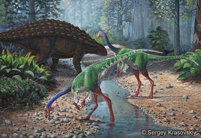 Орнитомим и паноплозавр