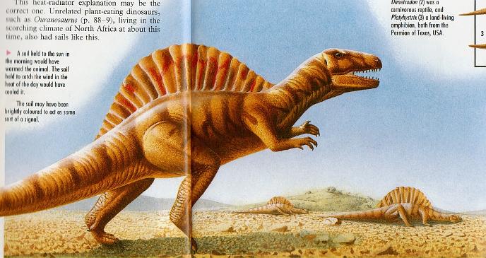 Спинозавры греются на утреннем солнце